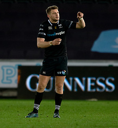 Ospreys' Dan Biggar<br /> <br /> Photographer Simon King/Replay Images<br /> <br /> Guinness PRO14 Round 19 - Ospreys v Leinster - Saturday 24th March 2018 - Liberty Stadium - Swansea<br /> <br /> World Copyright © Replay Images . All rights reserved. info@replayimages.co.uk - http://replayimages.co.uk