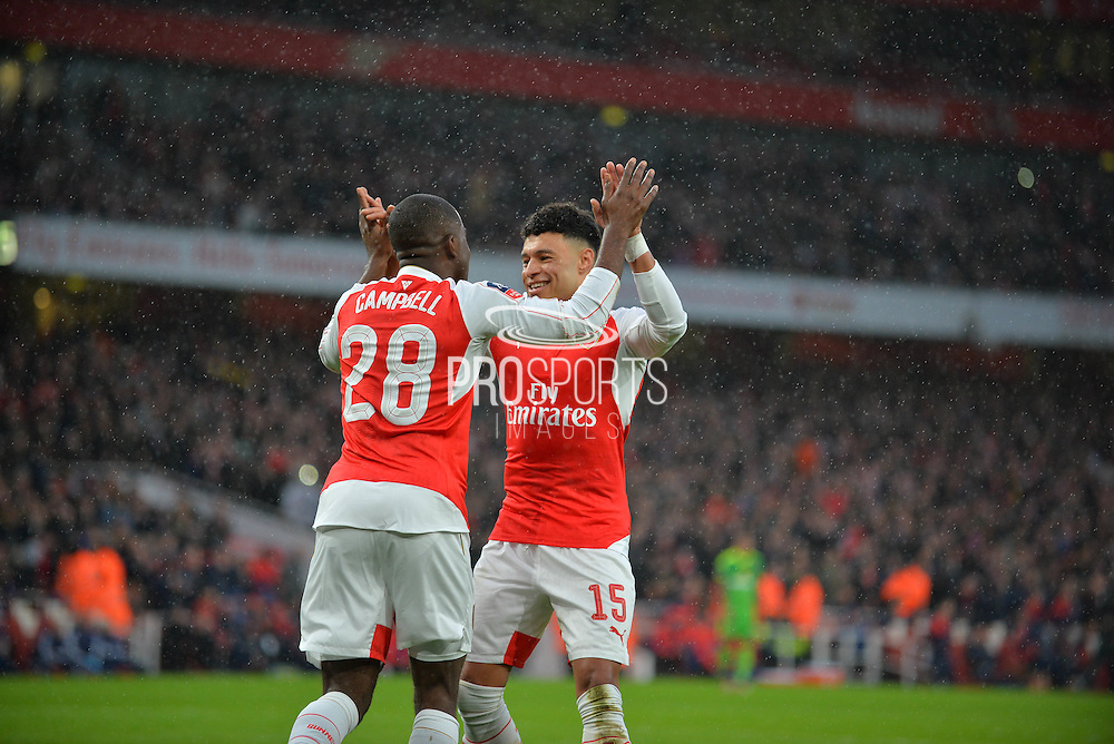 Arsenal Forward Joel Campbell makes it 1-1 Arsenal Midfielder Alex Oxlade-Chamberlain celebrates during the The FA Cup match between Arsenal and Sunderland at the Emirates Stadium, London, England on 9 January 2016. Photo by Adam Rivers.