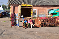 "Sofa sales are slow at this local market a few blocks from the Volga River in Uglich, Russia. As one of Russia's ""Golden Ring"" cities, Uglich is designated a town of significant cultural and historic importance."
