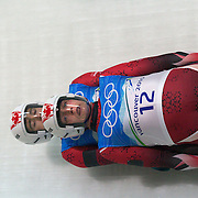 Winter Olympics, Vancouver, 2010.Chris Moffat and Mike Moffat, Canada, in action during the Luge Doubles at the Whistler Sliding Centre, Whistler, during the Vancouver  Winter Olympics. 16th February 2010. Photo Tim Clayton