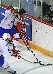 Mats Trygg of Norway vs Dany Heatley of Canada at play-off round quarterfinals ice-hockey game Norway vs Canada at IIHF WC 2008 in Halifax,  on May 14, 2008 in Metro Center, Halifax, Nova Scotia,Canada. (Photo by Vid Ponikvar / Sportal Images)
