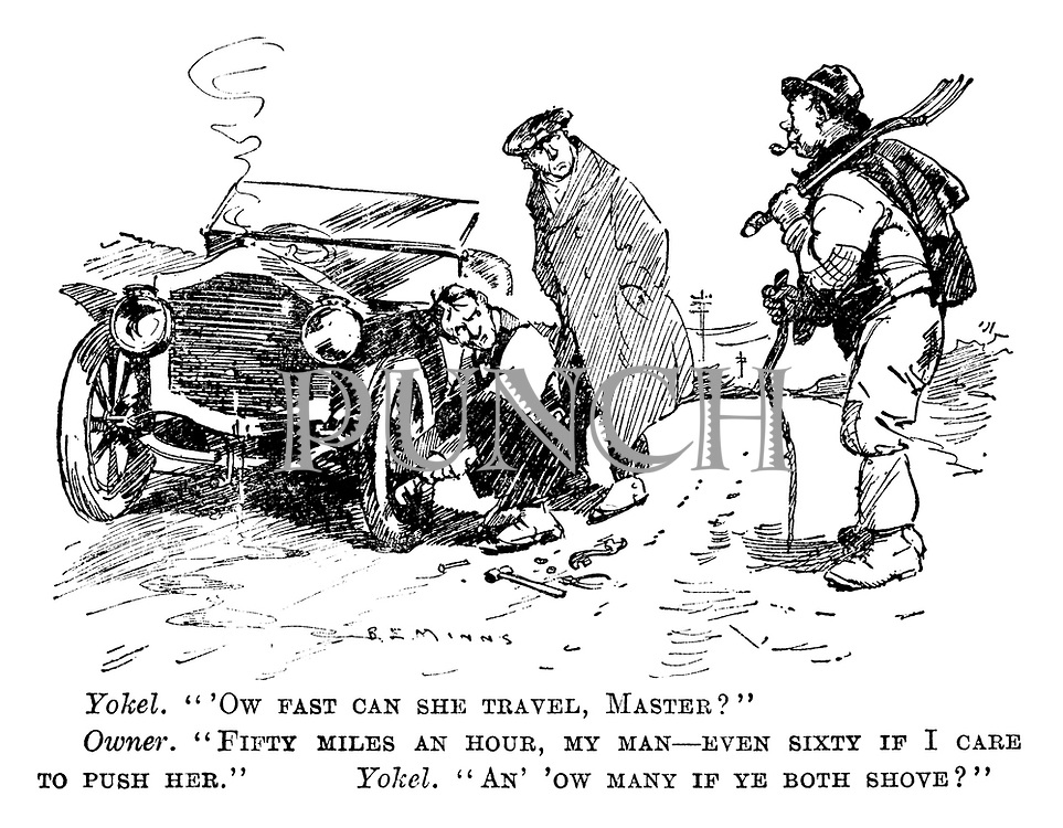 """Yokel. """"'Ow fast can she travel, master?"""" Owner. """"Fifty miles an hour, my man—even sixty if I care to push her."""" Yokel. """"An' 'ow many if ye both shove?"""""""