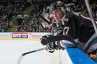 KELOWNA, CANADA - FEBRUARY 16: Rodney Southam #17 of Kelowna Rockets stands on the bench against the Red Deer Rebels on February 16, 2016 at Prospera Place in Kelowna, British Columbia, Canada.  (Photo by Marissa Baecker/Shoot the Breeze)  *** Local Caption *** Rodney Southam;