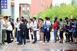 September 5, 2017 - Qingdao, Qingdao, China - Qingdao, CHINA-5th September 2017: (EDITORIAL USE ONLY. CHINA OUT) ..Students queue up to fetch their parcels of online shopping at Shandong University of Science and Technology on first school day in Qingdao, east China's Shandong Province, September 5th, 2017. As the new semester begins, the number of parcels rises. (Credit Image: © SIPA Asia via ZUMA Wire)