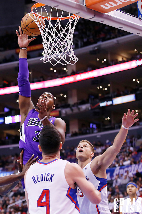 23 November 2013: Sacramento Kings power forward Jason Thompson (34) goes for the layup during the Los Angeles Clippers 103-102 victory over the Sacramento Kings at the Staples Center, Los Angeles, California, USA.