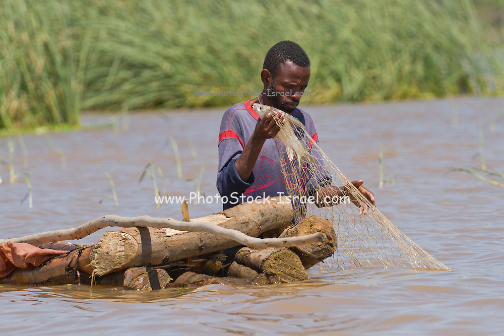 Africa, Ethiopia, man fishing in the river