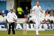 England & Nottinghamshire bowler Stuart Broad  watches an edge fly through the slips during day 3 of the first Investec Test Series 2016 match between England and Sri Lanka at Headingly Stadium, Leeds, United Kingdom on 21 May 2016. Photo by Simon Davies.