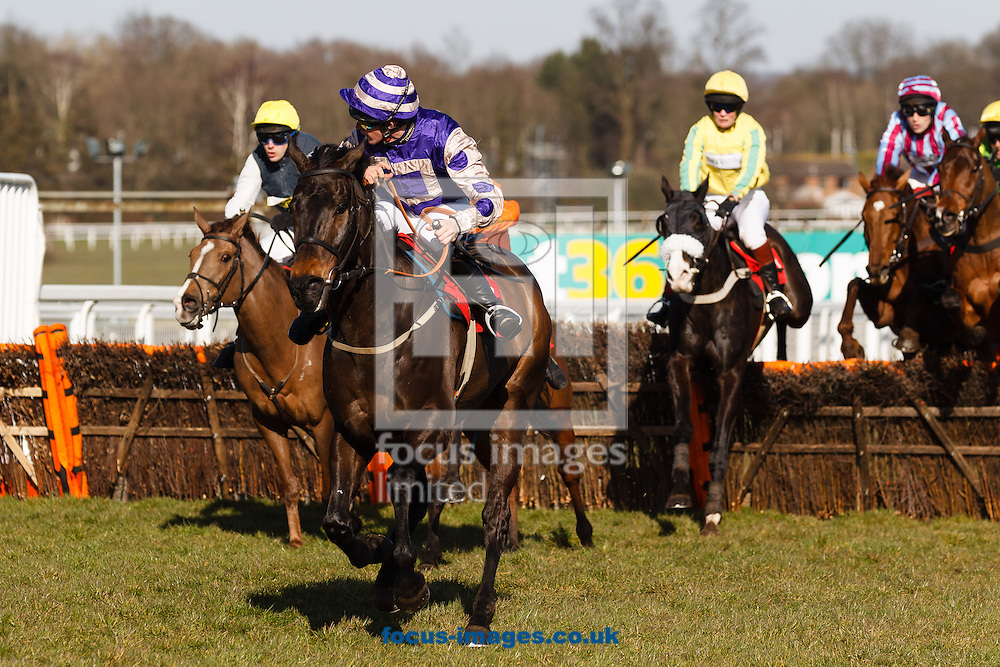 Kastani Beachridden by Lt Col Erica Bridge {Yellow) wins the Queen Elizabeth Queen Mother Memorial Amateur Riders' Handicap Hurdle from four behind at the last during the Grand Military Gold Cup meeting at Sandown Park, Esher<br /> Picture by Mark Chappell/Focus Images Ltd +44 77927 63340<br /> 06/03/2015