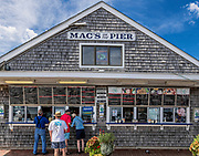 Mac's on the Pier offers fresh seafood at Wellfleet Harbor, Cape Cod, Massachusetts, USA.
