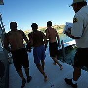 Men chained together and taken to jail after being cited for allegedly Boating Under the Influence on Lake Havasu during Memorial Day weekend.