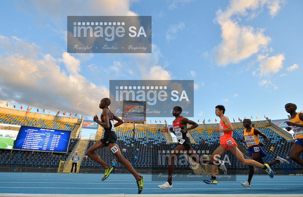 BYDGOSZCZ, POLAND - JULY 19: Ronald Kirui and Rodgers Kwemboi lead the pack in the mens 10000m final during the afternoon session on day 1 of the IAAF World Junior Championships at Zawisza Stadium on July 19, 2016 in Bydgoszcz, Poland. (Photo by Roger Sedres/Gallo Images)