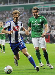 25.09.2011, Weserstadion, Bremen, GER, 1.FBL, Werder Bremen vs Hertha BSC, im Bild Andreas Ottl (Berlin #8), Philipp Bargfrede (Bremen #44)..// during the match Werder Bremen vs Hertha BSC on 2011/09/25, Weserstadion, Bremen, Germany..EXPA Pictures © 2011, PhotoCredit: EXPA/ nph/  Frisch       ****** out of GER / CRO  / BEL ******