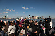 New york  tourist on the ferry to ellis and liberty island.  / touristes a bord du   Liberty ferry.