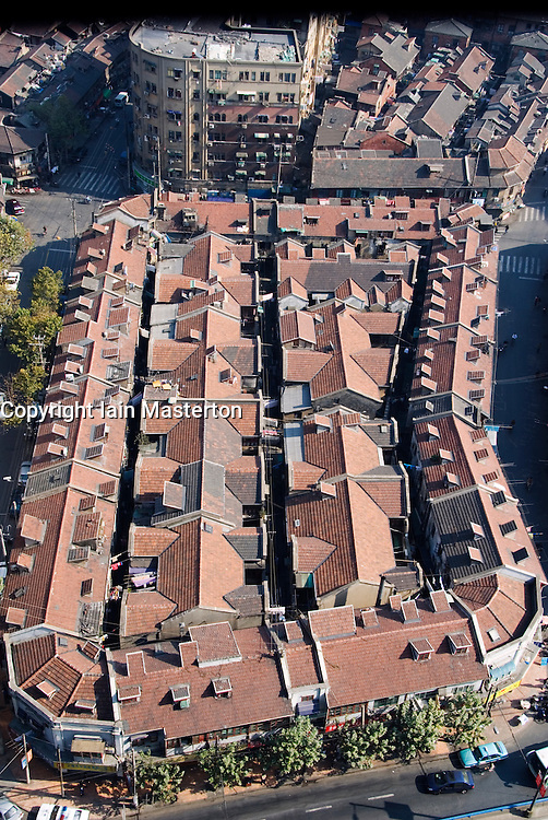 Looking down on many old traditional houses in central Shanghai China