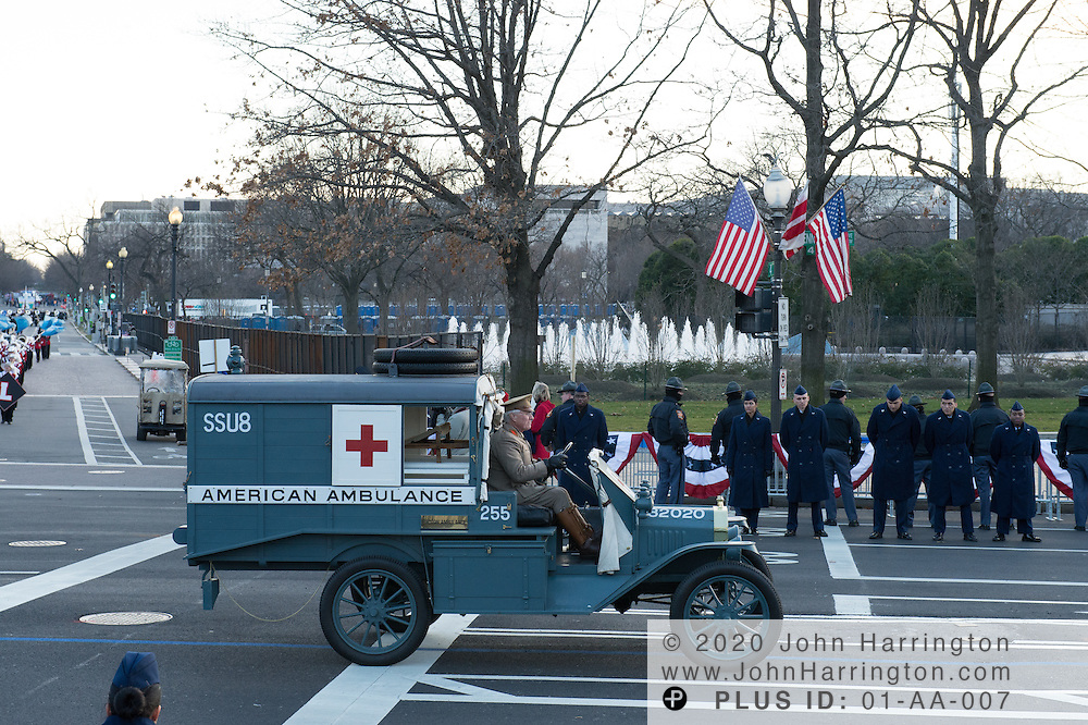 An antique ambulance participates in the parade for the 57th Presidential Inauguration of President Barack Obama at the U.S. Capitol Building in Washington, DC January 21, 2013.