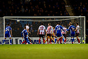 Gillingham FC defender Connor Ogilvie (6) (right) scores a goal (1-0) during the EFL Sky Bet League 1 match between Gillingham and Sunderland at the MEMS Priestfield Stadium, Gillingham, England on 7 December 2019.