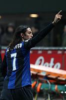 """Esultanza Ezequiel Schelotto Inter<br /> Milano 24/02/2013 Stadio """"San Siro""""<br /> Football Calcio Serie A 2012/13<br /> Inter v Milan<br /> Foto Insidefoto Paolo Nucci"""