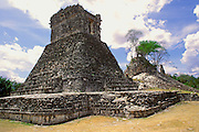 MEXICO, MAYAN CULTURE, YUCATAN PEN. Dzibilnocac, late classic 600-900AD; the main temple with a unique design of sloping rounded sides