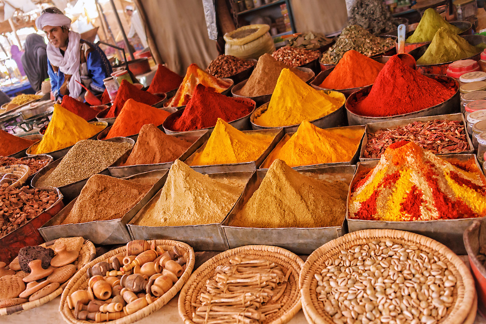 Spice stall at the sunday market in Rissani, Morocco.