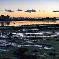 Rural scene at Bosham in West Sussex, England overlooking the estruary at dusk