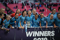 Football - 2019 SSE Women's FA Cup Final - Manchester City vs. West Ham United<br /> <br /> Manchester City players pose with the trophy at Wembley Stadium.<br /> <br /> COLORSPORT/DANIEL BEARHAM