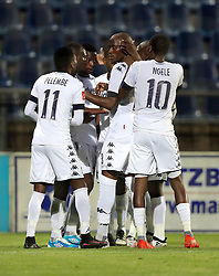Bidvest Wits players celebrate the opening goal during the 2016 Premier Soccer League match between Maritzburg Utd and Bidets Wits  held at the Harry Gwala Stadium in Pietermaritzburg, South Africa on the 20th December 2016<br /> <br /> Photo by:   Steve Haag / Real Time Images