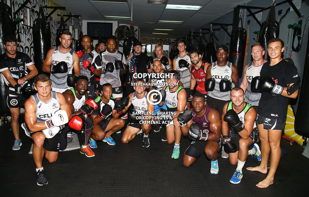 DURBAN, SOUTH AFRICA - JANUARY 16: Sharks backline line players during the Cell C Sharks boxing session at Domination on January 16, 2017 in Durban, South Africa. (Photo by Steve Haag/Gallo Images)