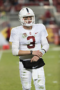 SANTA CLARA, CA - DECEMBER 1:  K.J. Costello #3 of the Stanford Cardinal warms up on the sidelines during the Pac-12 Championship game against the USC Trojans on December 1, 2017 at Levi's Stadium in Santa Clara, California.  (Photo by David Madison/Getty Images)