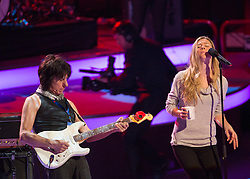 © Licensed to London News Pictures. 07/11/2014.  London. Singer Joss Stone and guitarist Jeff Beck rehearse prior to todays Festival of Remembrance.  First broadcast in 1927 the festival has now been held in the Royal Albert Hall for 87 years.  Photo credit : Alison Baskerville/LNP