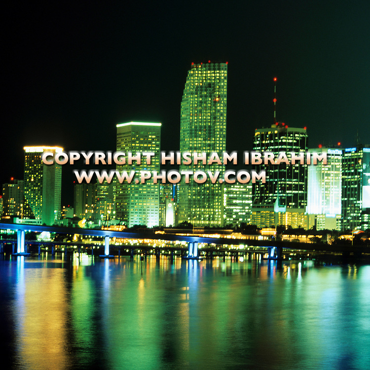 Skyline of Miami illuminated at night, Florida