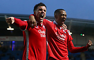Crawley's Lewis Young (R) celebrates scoring with captain Jimmy Smith during the Sky Bet League 2 match between Chesterfield and Crawley Town at the Proact Stadium in Chesterfield. 03 Feb 2018