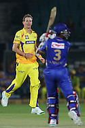Chris Morris of Chennai Super Kings reacts after a delivery  during the first semi-final match of the Karbonn Smart Champions League T20 (CLT20) 2013  between The Rajasthan Royals and the Chennai Superkings held at the Sawai Mansingh Stadium in Jaipur on the 4th October 2013<br /> <br /> Photo by Ron Gaunt-CLT20-SPORTZPICS<br /> <br /> Use of this image is subject to the terms and conditions as outlined by the CLT20. These terms can be found by following this link:<br /> <br /> http://sportzpics.photoshelter.com/image/I0000NmDchxxGVv4