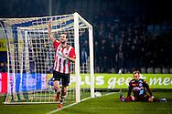 DOETINCHEM, de Graafschap - PSV, voetbal, Eredivisie seizoen 2015-2016, 31-10-2015, Stadion De Vijverberg, PSV speler Davy Propper (L) heeft de 0-1 gescoord, De Graafschap keeper Hidde Jurjus (R) is kansloos.