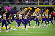 The Minnesota Vikings cheerleaders do a dance routine during the NFL week 6 regular season football game against the Arizona Cardinals on Sunday, Oct. 14, 2018 in Minneapolis. The Vikings won the game 27-17. (©Paul Anthony Spinelli)