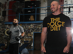 May 3, 2012; New York, NY; USA;  Mike Dolce and Johny Hendricks during the media workouts for UFC on FOX 3 at the Church Street Boxing Gym in New York, New York.