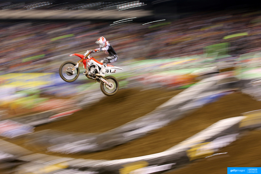 Trey Canard, Honda, in action during the 450SX Class Championship during round 16 of the Monster Energy AMA Supercross series held at MetLife Stadium. 62,217 fans attended the event held for the first time at MetLife Stadium, New Jersey, USA. 26th April 2014. Photo Tim Clayton