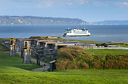 Washington State Ferry crossing Admiralty inlet on the Keystone to Port Townsend run. Gun battryies of Fort Casey State Park are in the foreground.