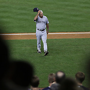 Boston Red Sox manager Bobby Valentine is heckled by Yankee fans as he returns to the dugout  during the New York Yankees V Boston Red Sox Baseball game which the New York Yankees won 14-2 to become American League East champions at Yankee Stadium, The Bronx, New York. 4th October 2012. Photo Tim Clayton