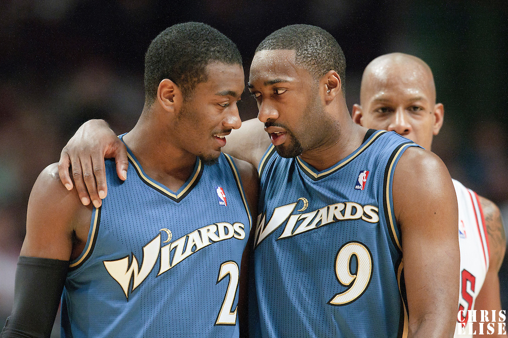 13 November 2010: Washington Wizards' point guard #9 Gilbert Arenas talks to Washington Wizards' point guard #2 John Wall during the Chicago Bulls 103-96 victory over the Washington Wizards at the United Center, in Chicago, Illinois, USA.