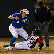 15 February 2018: The San Diego State softball team hosts #25 Kentucky to open up the 28th annual Campbell/Cartier Classic. San Diego State outfielder Aris Metcalfe (00) slides safely into third on a fielders choice in the bottom of the fourth inning. The Aztecs lost to the Wildcats 5-0.<br /> More game action at www.sdsuaztecphotos.com