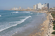 Israel, Tel Aviv, Skyline and seafront as seen from south