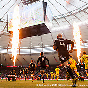 New Zealand and Australia run out to flames for the Cup Semi Final of the 2016 Canada Sevens leg of the HSBC Sevens World Series Series at BC Place in  Vancouver, British Columbia. Sunday March 13, 2016.<br /> <br /> Jack Megaw<br /> <br /> www.jackmegaw.com<br /> <br /> 610.764.3094<br /> jack@jackmegaw.com