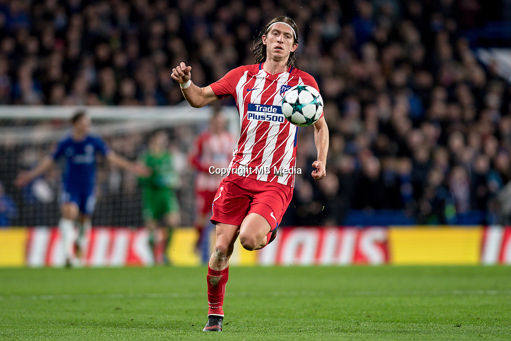 LONDON,ENGLAND - DECEMBER 05: Atletico Madrid (3) Filipe Luís during the UEFA Champions League group C match between Chelsea FC and Atletico Madrid at Stamford Bridge on December 5, 2017 in London, United Kingdom.  <br /> ( Photo by Sebastian Frej / MB Media )