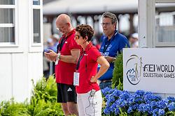 THEODORESU Monica (Bundestrainer Dressur), RÖSER Klaus (Chef d´Equipe), BAUER Thomas (Direktor Dressur)<br /> Tryon - FEI World Equestrian Games™ 2018<br /> Dressurtraining<br /> 10.September 2018<br /> © www.sportfotos-lafrentz.de/Stefan Lafrentz