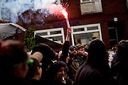 Hamburg | 01 May 2015<br /> <br /> 4000 protesters take part in the &quot;Never Mind The Papers&quot; rally for migrants and refugees in the german city of Hamburg. Picture shows a group of anti-fascist demonstrators presenting pyrotechnic fireworks.<br /> <br /> &copy;peter-juelich.com<br /> <br /> [Foto honorarpflichtig | Fees Apply | No Model Release | No Property Release]