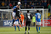 Carlisle United Defender Michael Raynes and Mansfield Town Forward Matt Green challenge for the ball during the Sky Bet League 2 match between Carlisle United and Mansfield Town at Brunton Park, Carlisle, England on 9 April 2016. Photo by Craig McAllister.