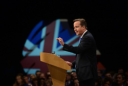 David Cameron Keynote Speech. <br /> Prime Minister David Cameron during his keynote speech to the Conservative Party Conference, Manchester, United Kingdom. Wednesday, 2nd October 2013. Picture by Andrew Parsons / i-Images