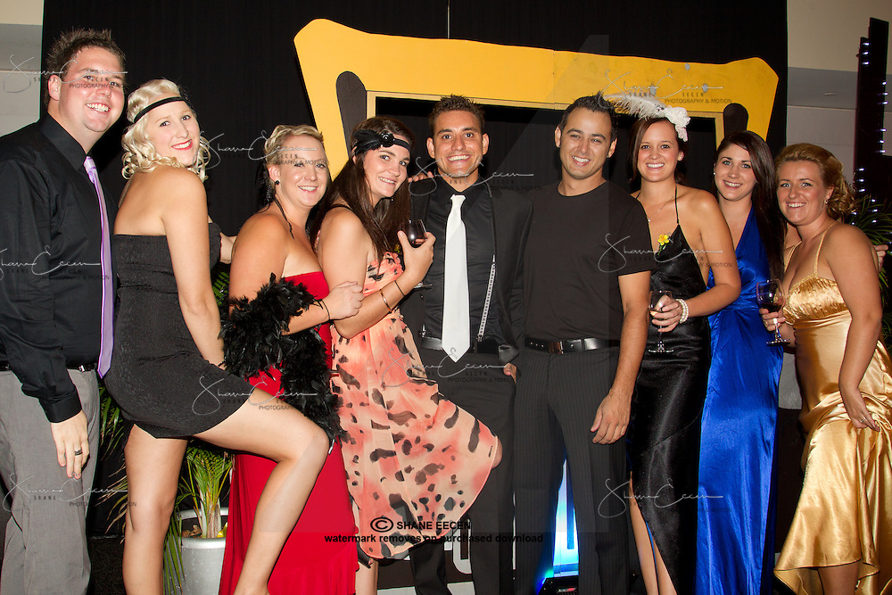 Mitch Gawthorn, Lauren Rinks, Prue Fulford, Katie Robertson, Warren McGrath, Max Fredericks, Janelle Parata, Maddy Delaive, Bronwyn Stone. Cancer Council Ball 2011. Photo Shane Eecen