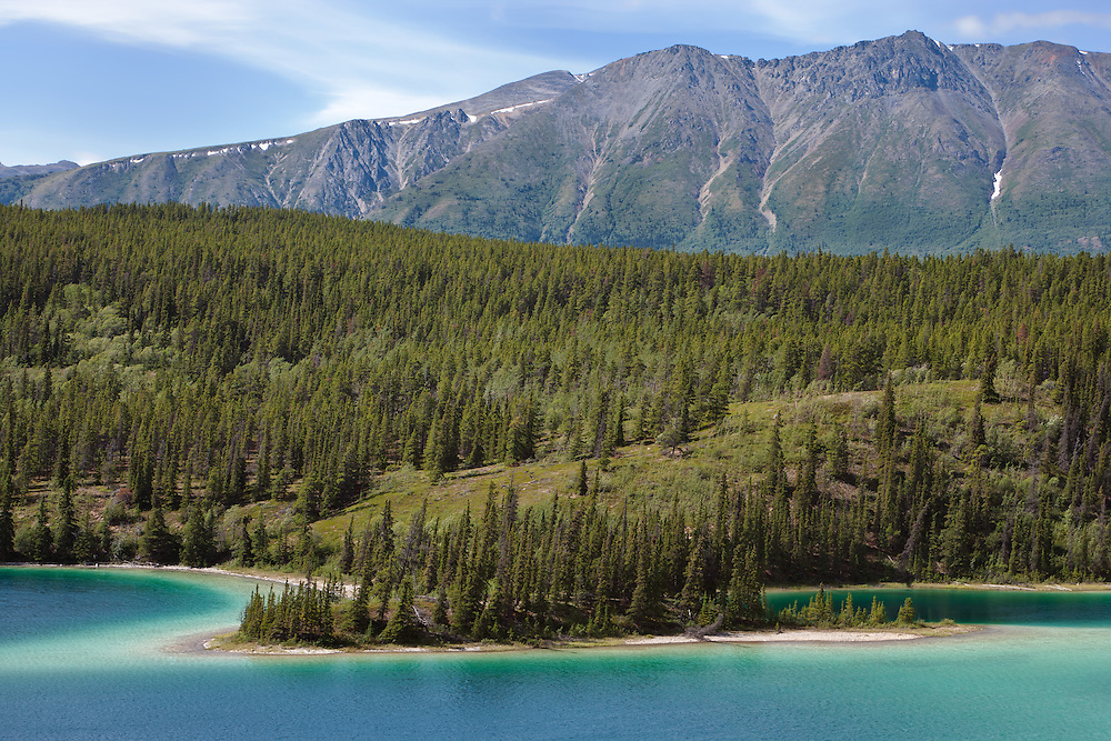 Mountain, forest and Emerald Lake along the Klondike Highway near Carcross in the Yukon Territory of Canada. Summer. Afternoon.