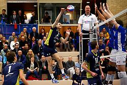 20150325 NED: Eredivisie Inter Rijswijk - Abiant Lycurgus, Rijswijk<br />Jorn Lorsheijd (2) of Inter Rijswijk , Gino Naarden (5) of Abiant Lycurgus, Tim Smit (11) of Abiant Lycurgus<br />©2015-FotoHoogendoorn.nl / Pim Waslander